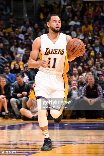Tyler Ennis of the Los Angeles Lakers brings the ball up court during the game against the San Antonio Spurs on February 26 2017 at STAPLES Center in...