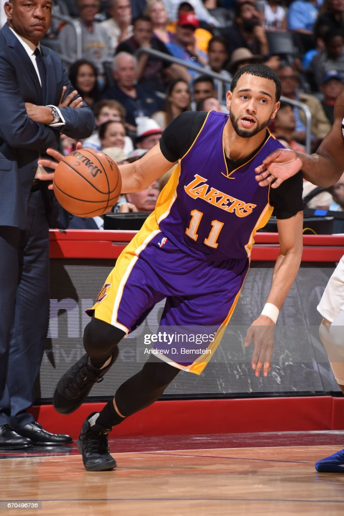 Tyler Ennis #11 of the Los Angeles Lakers drives to the basket against the LA Clippers on April 1, 2017 at STAPLES Center in Los Angeles, California.
