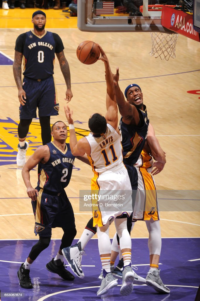 Tyler Ennis #11 of the Los Angeles Lakers grabs the rebound against the New Orleans Pelicans on March 5, 2017 at STAPLES Center in Los Angeles, California.