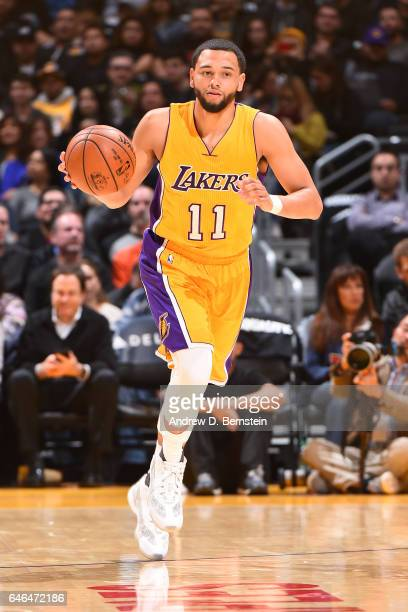 Tyler Ennis of the Los Angeles Lakers handles the ball against the Charlotte Hornets on February 28 2017 at STAPLES Center in Los Angeles California...