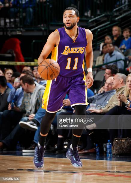 Tyler Ennis of the Los Angeles Lakers handles the ball against the Dallas Mavericks on March 7 2017 at the American Airlines Center in Dallas Texas...