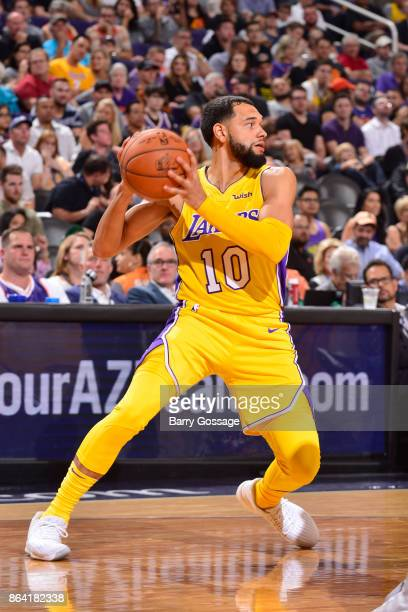 Tyler Ennis of the Los Angeles Lakers handles the ball against the Phoenix Suns on October 20 2017 at Talking Stick Resort Arena in Phoenix Arizona...