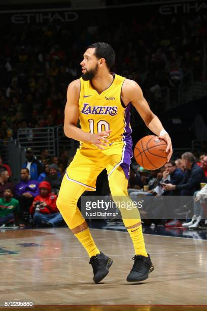 Tyler Ennis of the Los Angeles Lakers handles the ball against the Washington Wizards on November 9 2017 at Capital One Arena in Washington DC NOTE...