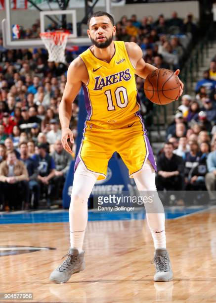 Tyler Ennis of the Los Angeles Lakers handles the ball against the Dallas Mavericks on January 13 2018 at the American Airlines Center in Dallas...