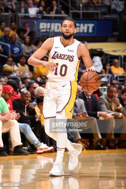 Tyler Ennis of the Los Angeles Lakers handles the ball during the game against the New Orleans Pelicans on October 22 2017 at STAPLES Center in Los...