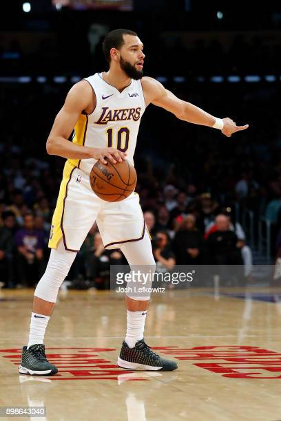 Tyler Ennis of the Los Angeles Lakers handles the ball during the second half of the game against the Minnesota Timberwolves at Staples Center on...