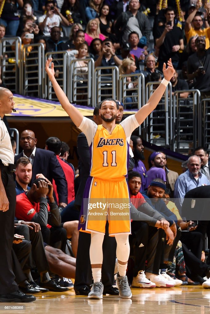Tyler Ennis #11 of the Los Angeles Lakers reacts during the game against the New Orleans Pelicans on April 11, 2017 at STAPLES Center in Los Angeles, California.