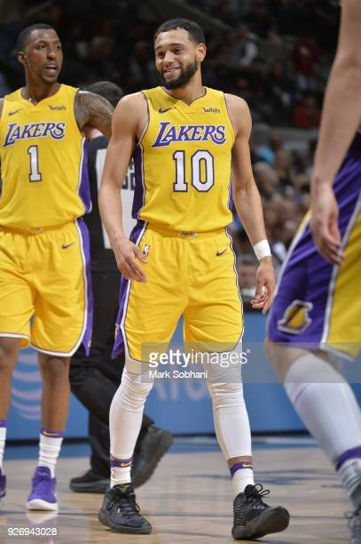 Tyler Ennis of the Los Angeles Lakers reacts during the game against the San Antonio Spurs on March 3 2018 at the ATT Center in San Antonio Texas...