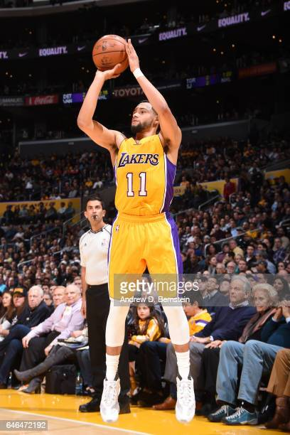 Tyler Ennis of the Los Angeles Lakers shoots the ball against the Charlotte Hornets on February 28 2017 at STAPLES Center in Los Angeles California...