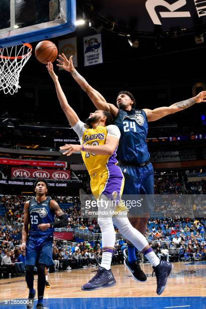 Tyler Ennis of the Los Angeles Lakers shoots the ball against the Orlando Magic on January 31 2018 at Amway Center in Orlando Florida NOTE TO USER...