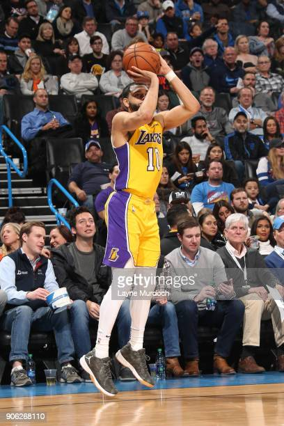 Tyler Ennis of the Los Angeles Lakers shoots the ball during the game against the Oklahoma City Thunder on January 17 2018 at Chesapeake Energy Arena...