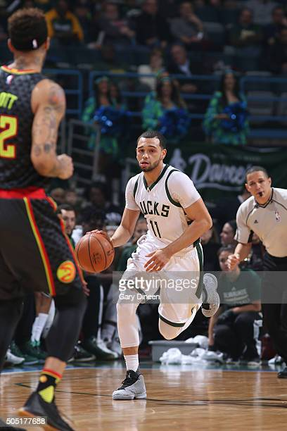 Tyler Ennis of the Milwaukee Bucks handles the ball against the Atlanta Hawkson January 15 2016 at the BMO Harris Bradley Center in Milwaukee...