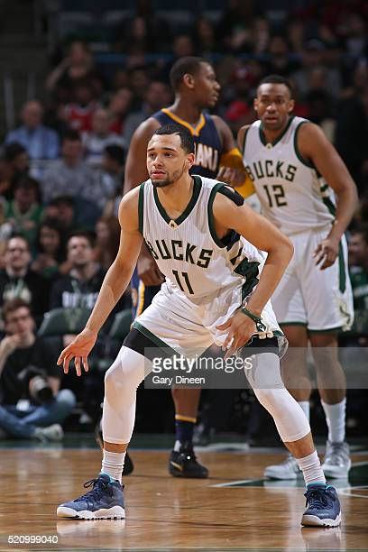 Tyler Ennis of the Milwaukee Bucks plays defense against the Indiana Pacers on April 13 2016 at the BMO Harris Bradley Center in Milwaukee Wisconsin...