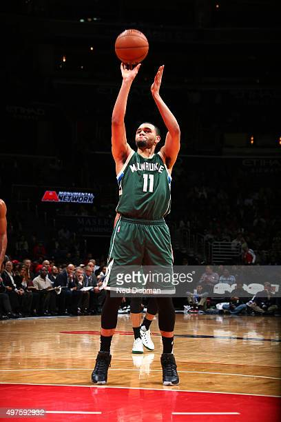 Tyler Ennis of the Milwaukee Bucks shoots a free throw during the game against the Washington Wizards on November 17 2015 at Verizon Center in...