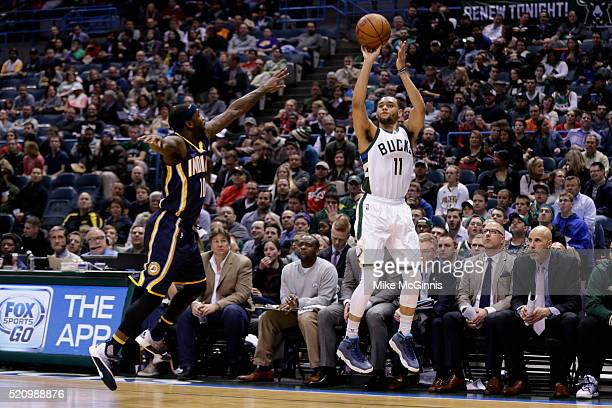 Tyler Ennis of the Milwaukee Bucks shoots a two pointer during the first quarter against the Indiana Pacers at BMO Harris Bradley Center on April 13...
