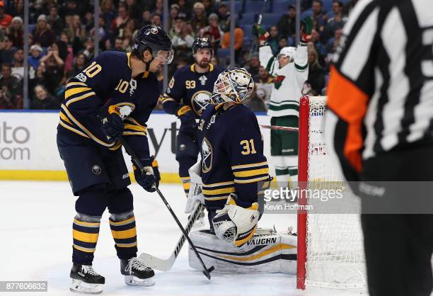Tyler Ennis of the Minnesota Wild celebrates after scoring a goal on Chad Johnson of the Buffalo Sabres during the first period at the KeyBank Center...