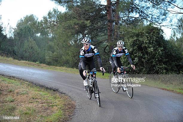 Tyler Farrar and Heinrich Haussler, professional road race cyclists for the Garmin Cervelo team, Gerona, January 29, 2011.