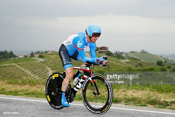 Tyler Farrar of the USA and team GarminSharp in action during the twelfth stage of the 2014 Giro d'Italia a 42km Individual Time Trial stage between...