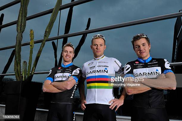 Tyler Farrar, Thor Hushovd and Heinrich Haussler, professional road race cyclists for the Garmin Cervelo team, Gerona, January 28, 2011.