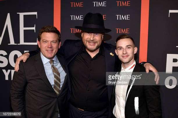Tyler Florence Marc Benioff and Adam Rippon attend the TIME Person Of The Year Celebration at Capitale on December 12 2018 in New York City