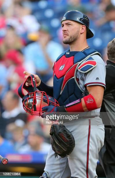 Tyler Flowers of the Atlanta Braves during a game against the Philadelphia Phillies at Citizens Bank Park on September 30 2018 in Philadelphia...