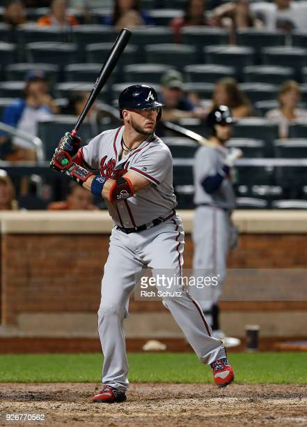 Tyler Flowers of the Atlanta Braves in action against the New York Mets during the second game of a doubleheader at Citi Field on September 25 2017...