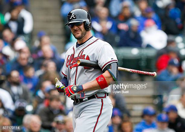 Tyler Flowers of the Atlanta Braves reacts after striking out against the Chicago Cubs at Wrigley Field on April 29 2016 in Chicago Illinois