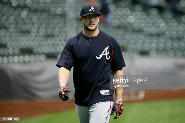 Tyler Flowers of the Atlanta Braves warms up before the game against the Milwaukee Brewers at Miller Park on April 28 2017 in Milwaukee Wisconsin