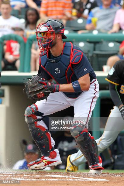 Tyler Flowers of the Braves at catcher during the spring training game between the Pittsburgh Pirates and the Atlanta Braves on March 13 2017 at...