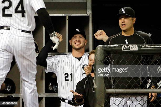 Tyler Flowers of the Chicago White Sox after Mike Olt hit a two run home run against the Oakland Athletics during the fourth inning at US Cellular...