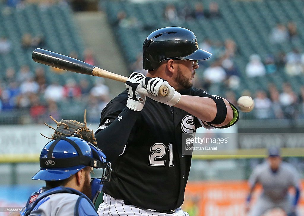 Tyler Flowers #21 of the Chicago White Sox is hit on the elbow by a pitch against the Toronto Blue Jays in the 2nd inning at U.S. Cellular Field on July 7, 2015 in Chicago, Illinois.