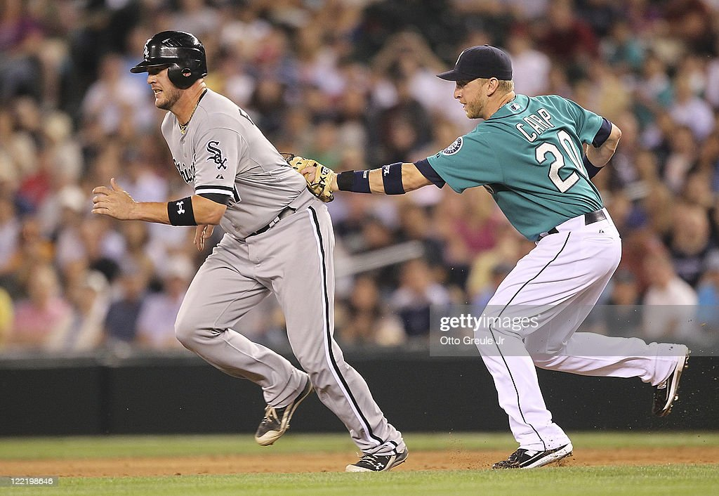 Chicago white sox v seattle mariners photos and images getty images tyler flowers 17 of the chicago white sox is tagged out in a run mightylinksfo Choice Image