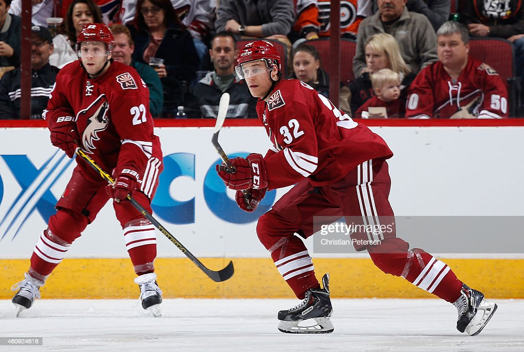 Tyler Gaudet #32 of the Arizona Coyotes in action during the NHL game against the Philadelphia Flyers at Gila River Arena on December 29, 2014 in Glendale, Arizona. The Coyotes defeated the Flyers 4-2.