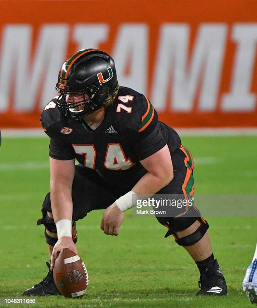 Tyler Gauthier of the Miami Hurricanes in action during the game against the North Carolina Tar Heels at Hard Rock Stadium on September 27 2018 in...