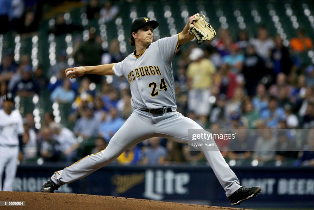 Tyler Glasnow #24 of the Pittsburgh Pirates pitches in the first inning against the Milwaukee Brewers at Miller Park on September 13, 2017 in Milwaukee, Wisconsin.