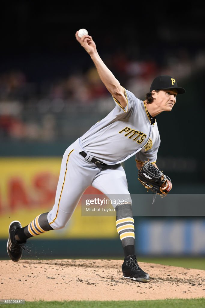 Tyler Glasnow #24 of the Pittsburgh Pirates pitches in the third inning during a baseball game against the Washington Nationals at Nationals Park on September 28, 2017 in Washington, DC.