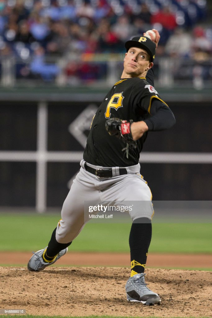 Tyler Glasnow #24 of the Pittsburgh Pirates throws a pitch in the bottom of the fourth inning against the Philadelphia Phillies at Citizens Bank Park on April 19, 2018 in Philadelphia, Pennsylvania. The Phillies defeated the Pirates 7-0.