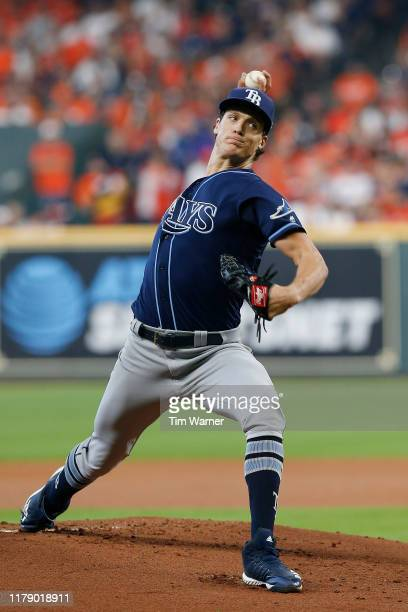 Tyler Glasnow of the Tampa Bay Rays delivers a pitch against the Houston Astros during the first inning in game one of the American League Division...