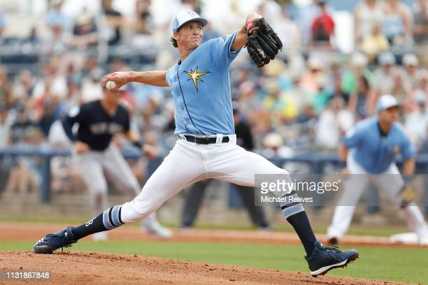 Tyler Glasnow of the Tampa Bay Rays delivers a pitch in the first inning against the New York Yankees during the Grapefruit League spring training...