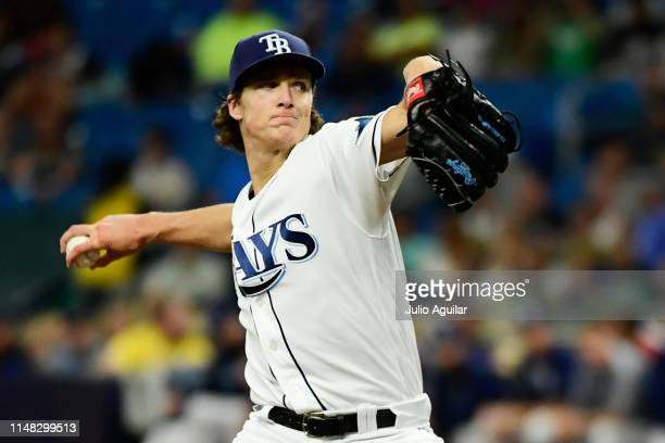 Tyler Glasnow of the Tampa Bay Rays delivers a pitch in the first inning against the New York Yankees at Tropicana Field on May 10, 2019 in St....