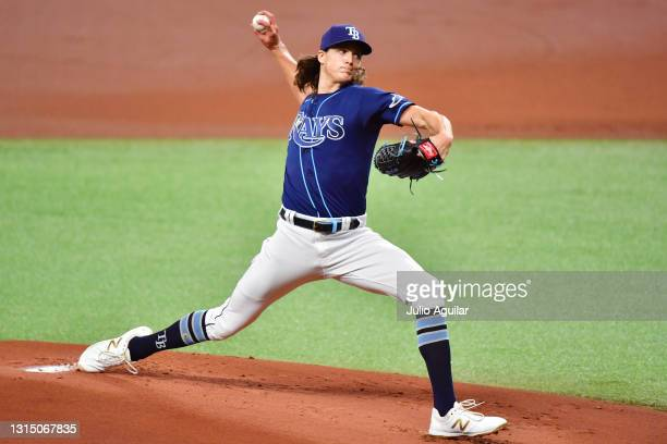 Tyler Glasnow of the Tampa Bay Rays delivers a pitch to the Oakland Athletics in the first inning at Tropicana Field on April 28, 2021 in St...