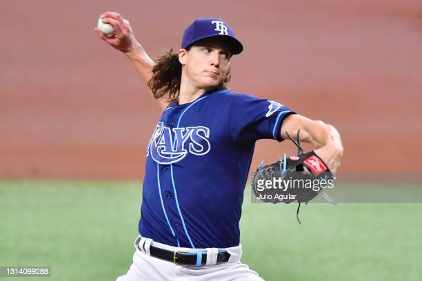 Tyler Glasnow of the Tampa Bay Rays delivers a pitch to the Toronto Blue Jays in the first inning at Tropicana Field on April 23, 2021 in St...