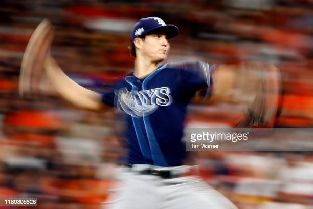 Tyler Glasnow of the Tampa Bay Rays delivers the pitch against the Houston Astros during the second inning in game five of the American League...