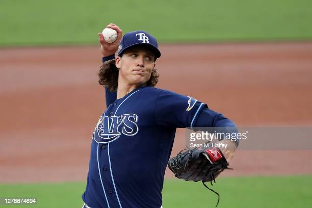 Tyler Glasnow of the Tampa Bay Rays delivers the pitch against the New York Yankees during the first inning in Game Two of the American League...
