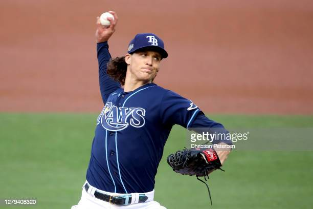 Tyler Glasnow of the Tampa Bay Rays delivers the pitch against the New York Yankees during the first inning in Game Five of the American League...