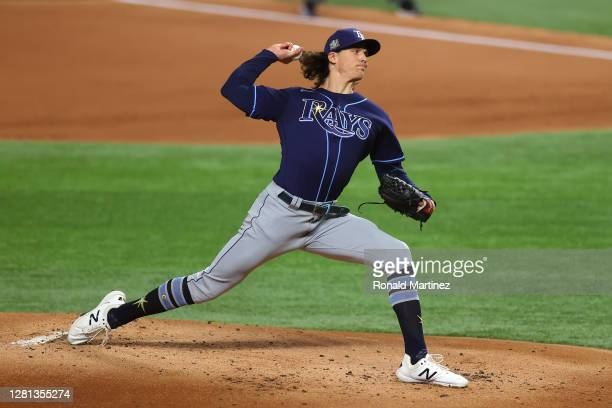Tyler Glasnow of the Tampa Bay Rays delivers the pitch against the Los Angeles Dodgers in Game One of the 2020 MLB World Series at Globe Life Field...