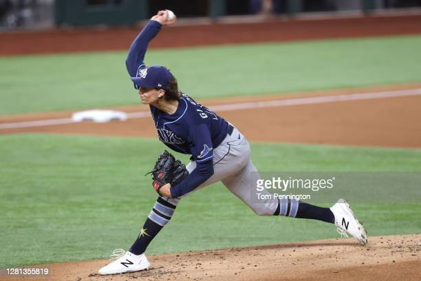 Tyler Glasnow of the Tampa Bay Rays delivers the pitch against the Los Angeles Dodgers during the first inning in Game One of the 2020 MLB World...