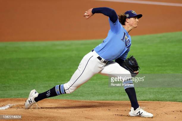 Tyler Glasnow of the Tampa Bay Rays delivers the pitch against the Los Angeles Dodgers during the first inning in Game Five of the 2020 MLB World...
