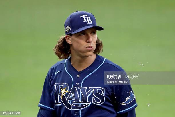 Tyler Glasnow of the Tampa Bay Rays is taken out of the game against the New York Yankees during the third inning in Game Five of the American League...
