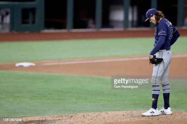 Tyler Glasnow of the Tampa Bay Rays is taken out of the game against the Los Angeles Dodgers during the fifth inning in Game One of the 2020 MLB...